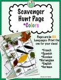 Colors Scavenger Hunt in 6 Languages