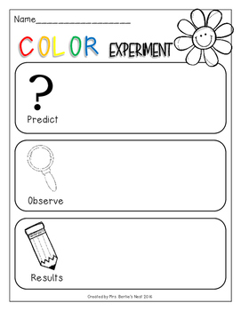 colors science experiment with carnations - recording page