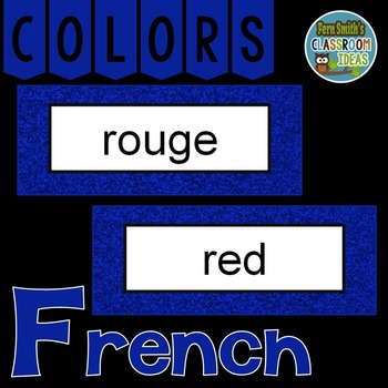 French Color Words Pocket Chart Cards And Worksheets Franais Blue