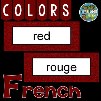 French Color Words Pocket Chart Cards and Worksheets Français Garnet