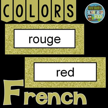 French Color Words Pocket Chart Cards and Worksheets Français Gold
