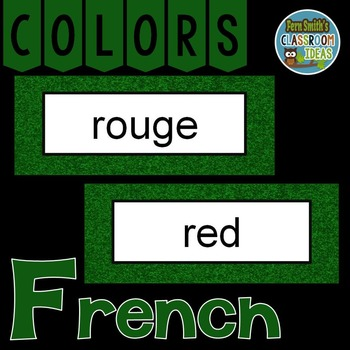 French Color Words Pocket Chart Cards and Worksheets Français Green