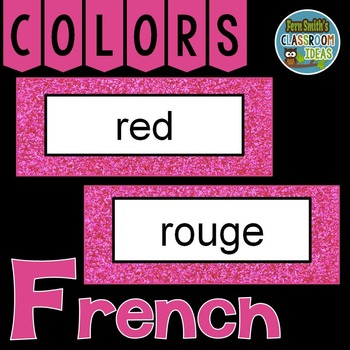 French Color Words Pocket Chart Cards and Worksheets Français Pink