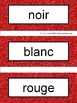 French Color Words Pocket Chart Cards and Worksheets Français Red