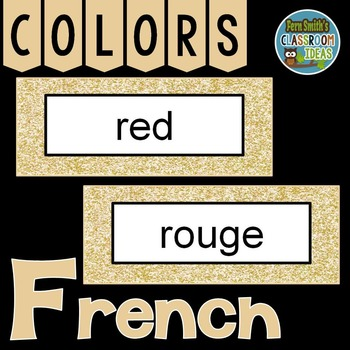 French Color Words Pocket Chart Cards and Worksheets Français Rose Gold