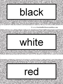 French Color Words Pocket Chart Cards and Worksheets Français Silver