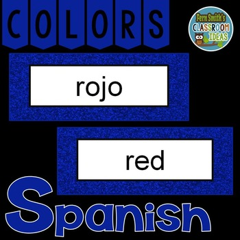 Spanish Color Words Pocket Chart Cards and Worksheets Español Blue
