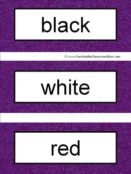 Spanish Color Words Pocket Chart Cards and Worksheets Español Dark Purple