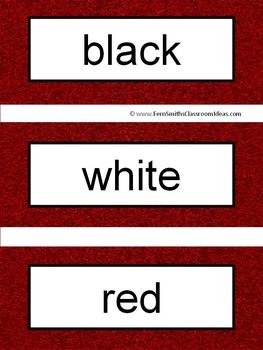 Spanish Color Words Pocket Chart Cards and Worksheets Español Garnet