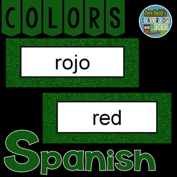 Spanish Color Words Pocket Chart Cards and Worksheets Español Green