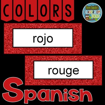 Spanish Color Words Pocket Chart Cards and Worksheets Español Red