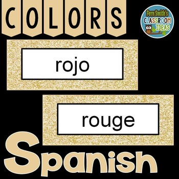 Spanish Color Words Pocket Chart Cards and Worksheets Español Rose Gold