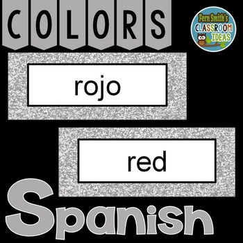 Spanish Color Words Pocket Chart Cards and Worksheets Español Silver