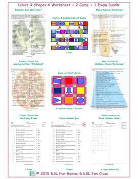 Colors & Shapes 4 Worksheet-2 Game-1 Exam Bundle
