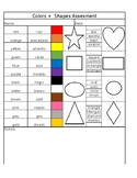 Colors + Shapes Assessment Sheet
