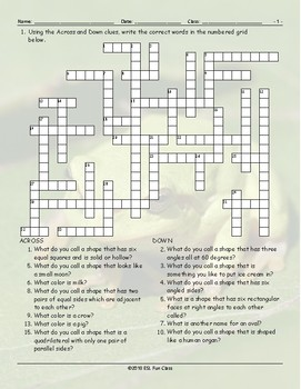 Colors-Shapes Crossword Puzzle