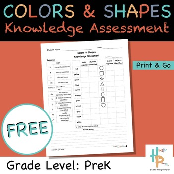 Colors & Shapes Knowledge Assessment for PreK