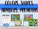Colors, Shapes, Numbers, Pronouns Dry Erase Boards BUNDLE