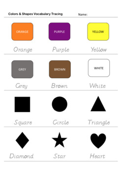 Colors & Shapes - Poster, Bingo, Flashcards, Worksheets