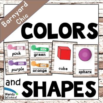 Colors & Shapes Posters for Farmhouse Shiplap Decor Theme