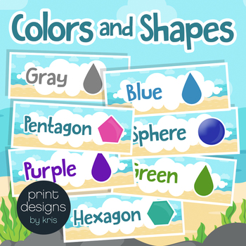 Colors & Shapes Signs in Beach Theme