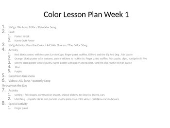 Colors Slideshow, Activities, and Materials