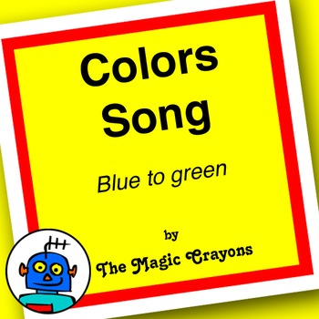 English Colors Song 1 for ESL, EFL, Kindergarten. Red, blue, yellow, green, pink