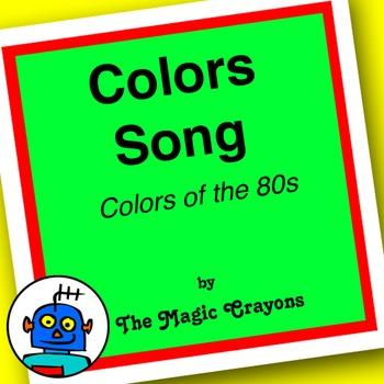 English Colors Song 2 for ESL, EFL, Kindergarten. White, black, purple, grey