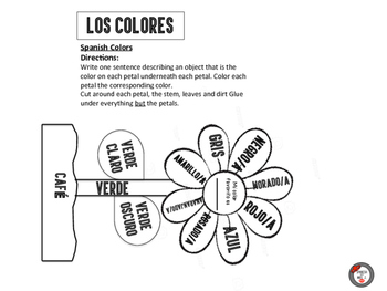 Colors: Spanish Interactive Notebook Page