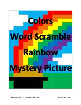 Colors Spelling Word Scramble With Mystery Picture