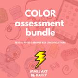 Colors Test Assessment Bundle for Middle/Elementary Art Grades