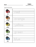 Colors Trace the Words Doghouse Worksheets Preschool/Kindergarten