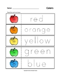 Colors Trace the Words Happy Apples Worksheets