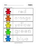 Colors Trace the Words Teddy Bear Worksheets