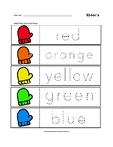 Colors Trace the Words Winter Mittens Worksheets
