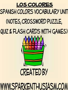 Colors Vocabulary Lists, Activities, Crossword, Games, and Quiz Unit
