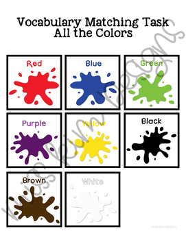 Colors Vocabulary Folder Game for Early Childhood Special Education