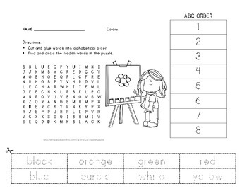 Colors - Vocabulary Word Search wih ABC Order