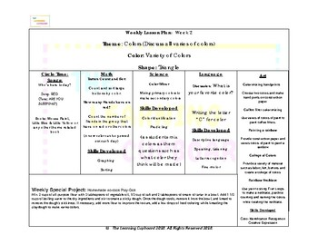 Colors Weekly Curriculum!
