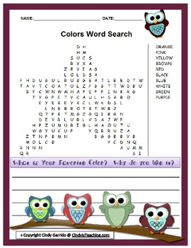 Colors Word Search *OWL EDITION*