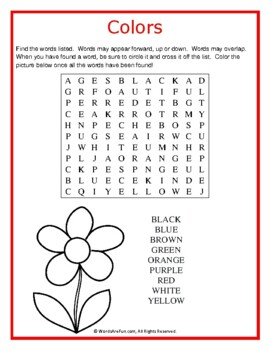 colors word search puzzle easy by words are fun tpt. Black Bedroom Furniture Sets. Home Design Ideas