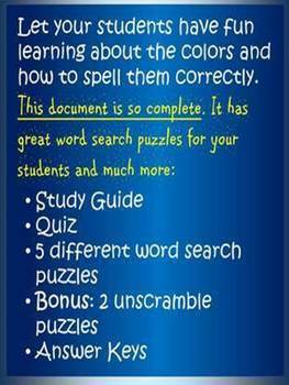 Word Search: Colors with Quiz and Study Guide, Coloring page, and Bonus