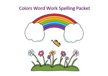 Colors Word Work Packet – 20 words no prep spelling packet