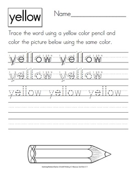 Colors Words Worksheets: Trace, Copy, Write and Match