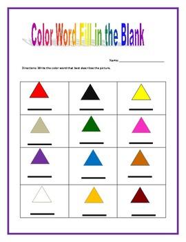 Colors Worksheet Packet