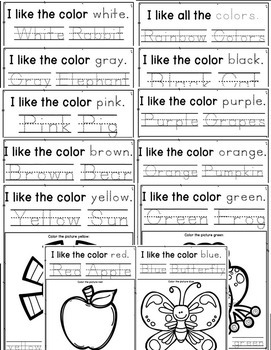 Colors and Color Words Pack NO PREP Activities