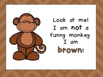 Colors and Color Words Shared Reading PowerPoint- Kindergarten- Funny Monkeys