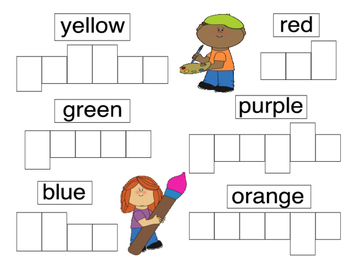 Colors and Farm Animals Writing in Boxes