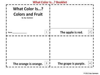 Colors and Fruit 2 Booklets - What Color Is...? - ENGLISH