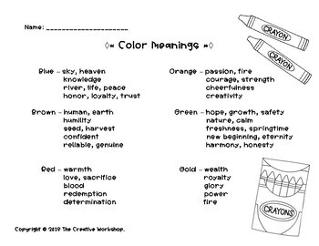 Color Meanings Activity & Surprise!